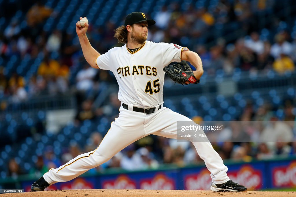 Gerrit Cole #45 of the Pittsburgh Pirates pitches in the first inning against the Chicago Cubs at PNC Park on September 6, 2017 in Pittsburgh, Pennsylvania.