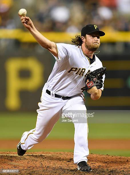 Gerrit Cole of the Pittsburgh Pirates pitches in the ninth inning during interleague play against the Seattle Mariners on July 27 2016 at PNC Park in...