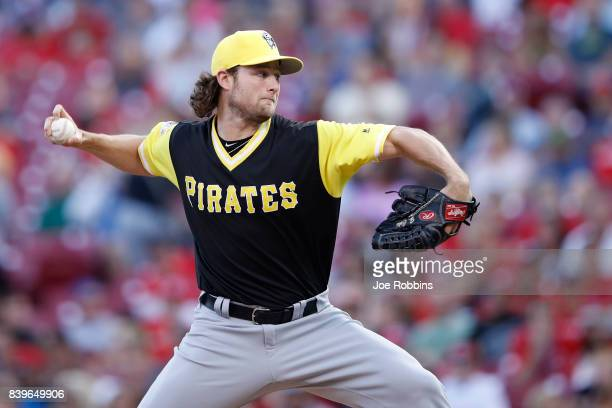 Gerrit Cole of the Pittsburgh Pirates pitches in the second inning of a game against the Cincinnati Reds at Great American Ball Park on August 26...