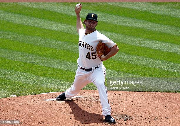 Gerrit Cole of the Pittsburgh Pirates pitches in the second inning during the game against the Miami Marlins at PNC Park on May 27 2015 in Pittsburgh...