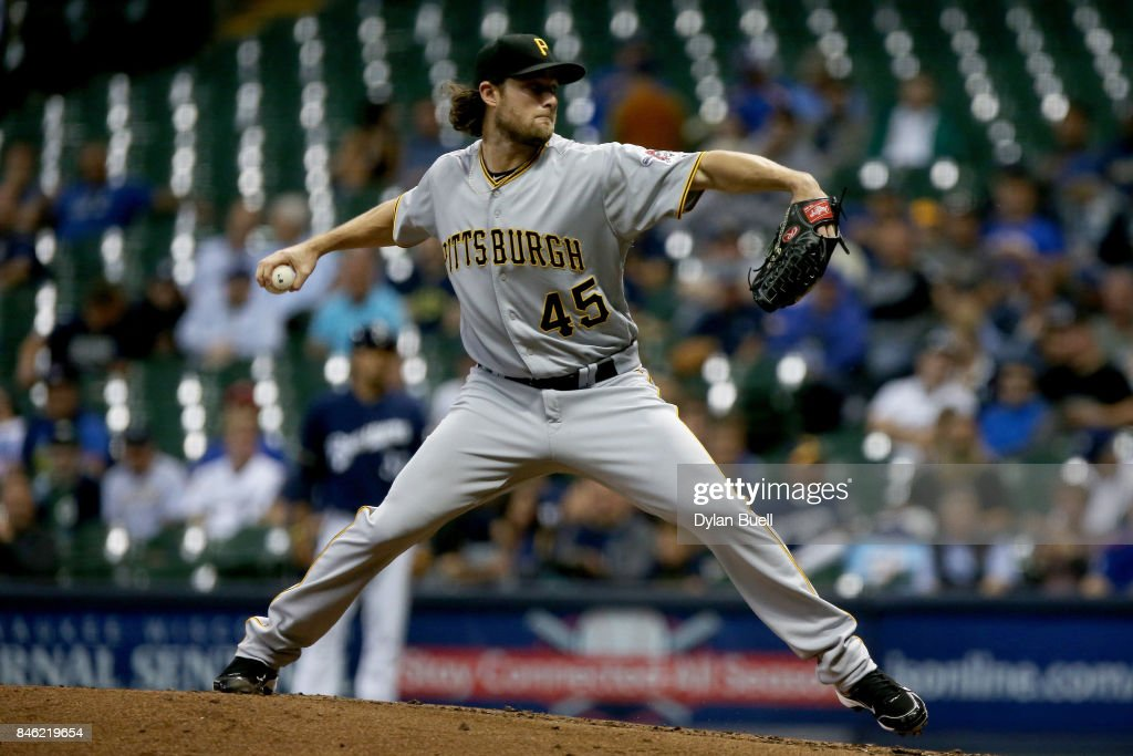 Gerrit Cole #45 of the Pittsburgh Pirates pitches in the third inning against the Milwaukee Brewers at Miller Park on September 12, 2017 in Milwaukee, Wisconsin.