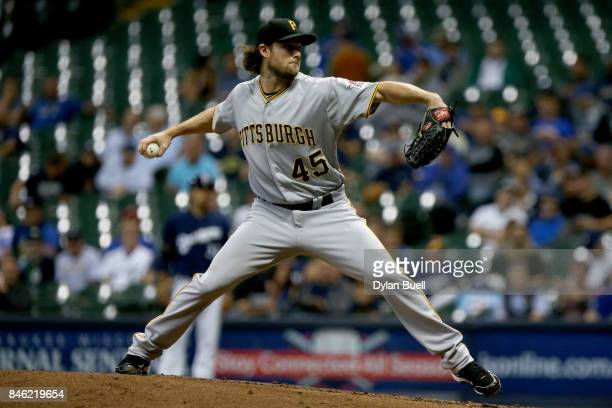 Gerrit Cole of the Pittsburgh Pirates pitches in the third inning against the Milwaukee Brewers at Miller Park on September 12 2017 in Milwaukee...