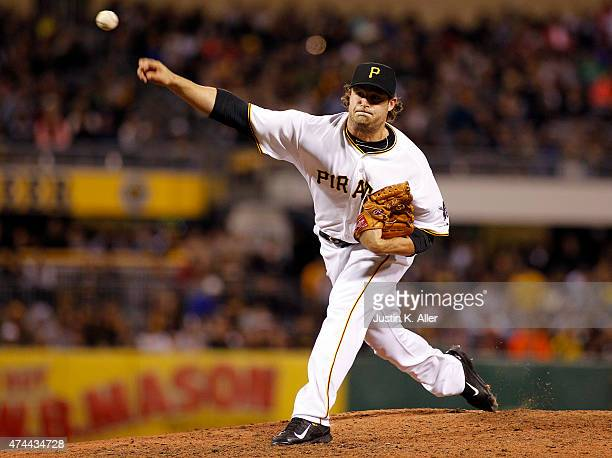 Gerrit Cole of the Pittsburgh Pirates pitches into the ninth inning during the game against the New York Mets at PNC Park on May 22 2015 in...