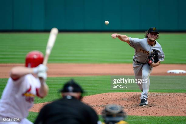 Gerrit Cole of the Pittsburgh Pirates pitches to Jedd Gyorko of the St Louis Cardinals during the fourth inning at Busch Stadium on April 19 2017 in...