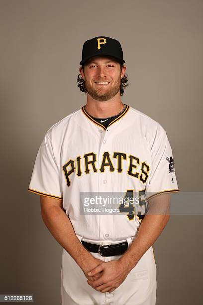 Gerrit Cole of the Pittsburgh Pirates poses during Photo Day on Thursday February 25 2016 at McKechnie Field in Bradenton Florida