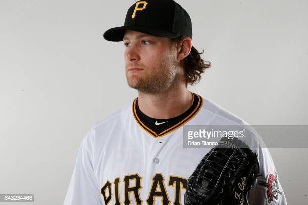 Gerrit Cole of the Pittsburgh Pirates poses for a photograph during MLB spring training photo day on February 19 2017 at Pirate City in Bradenton...
