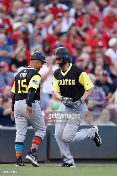 Gerrit Cole of the Pittsburgh Pirates rounds the bases after a solo home run in the sixth inning of a game against the Cincinnati Reds at Great...