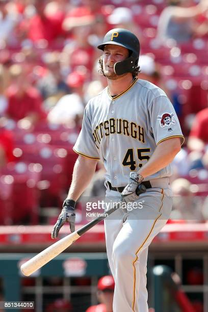 Gerrit Cole of the Pittsburgh Pirates strikes out during the game against the Cincinnati Reds at Great American Ball Park on September 17 2017 in...