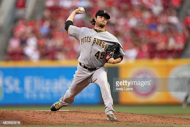 Gerrit Cole of the Pittsburgh Pirates throws a pitch against the Cincinnati Reds at Great American Ball Park on August 1 2015 in Cincinnati Ohio