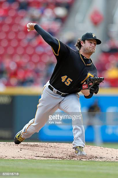 Gerrit Cole of the Pittsburgh Pirates throws a pitch during the first inning of the game against the Cincinnati Reds at Great American Ball Park on...