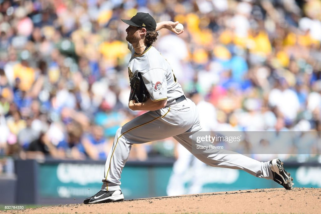 Gerrit Cole #45 of the Pittsburgh Pirates throws a pitch during the second inning of a game against the Milwaukee Brewers at Miller Park on August 16, 2017 in Milwaukee, Wisconsin.