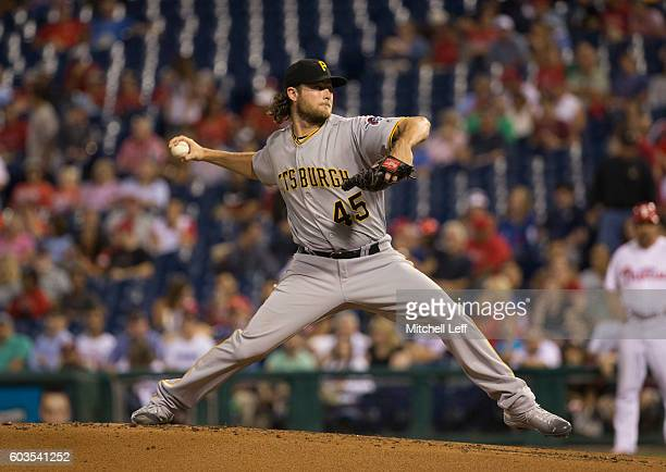 Gerrit Cole of the Pittsburgh Pirates throws a pitch in the bottom of the first inning against the Philadelphia Phillies at Citizens Bank Park on...