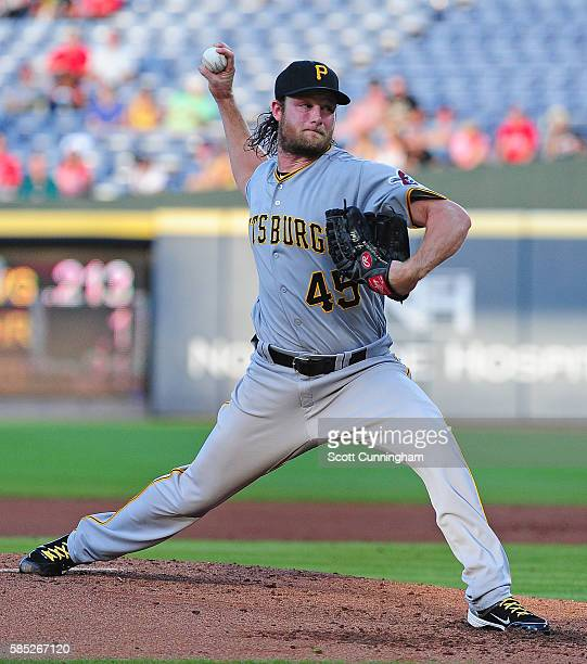 Gerrit Cole of the Pittsburgh Pirates throws a third inning pitch against the Atlanta Braves at Turner Field on July 30 2016 in Atlanta Georgia