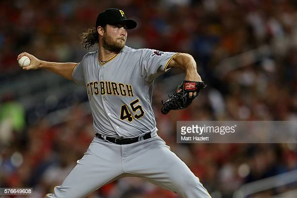 Gerrit Cole of the Pittsburgh Pirates works in the first inning against the Washington Nationals at Nationals Park on July 16 2016 in Washington DC