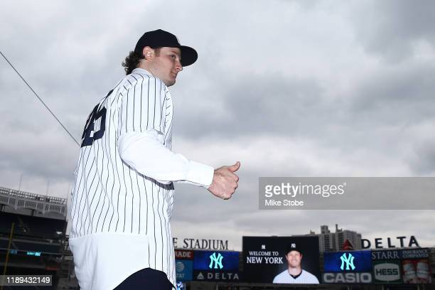 Gerrit Cole pose for a photo at Yankee Stadium during a press conference at Yankee Stadium on December 18 2019 in New York City