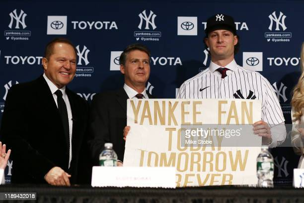 Gerrit Cole speaks to the media at Yankee Stadium during a press conference at Yankee Stadium on December 18 2019 in New York City
