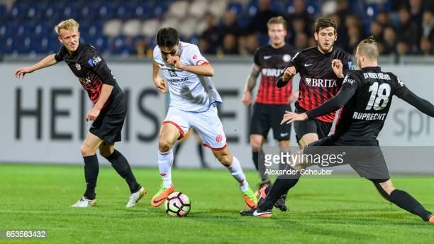 Gerrit Holtmann of Mainz challenges Steven Ruprecht of Wiesbaden during the Third League match between SV Wehen Wiesbaden and FSV Mainz 05 II at...