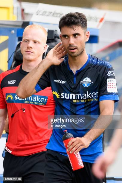 Gerrit Holtmann of SC Paderborn 07 gestures during the preseason friendly match between SC Paderborn 07 and Lazio Rom at Benteler Arena on August 3...