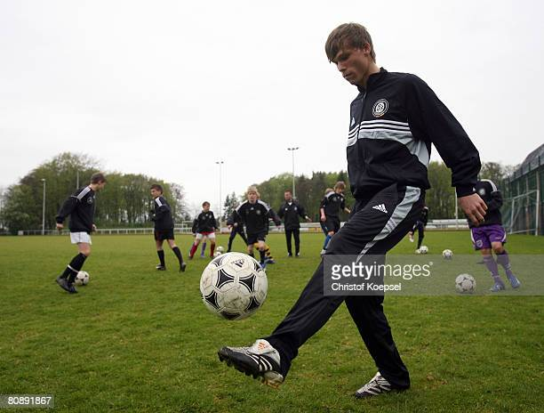 Gerrit Nauber juggles with the ball after the ceremony winning the price the talent of the month of the German Football Association at the German...