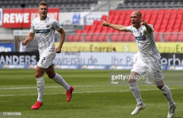 Gerrit Nauber of Sandhausen celebrates after he scores his sides second goal during the Second Bundesliga match between SV Sandhausen and Hannover 96...