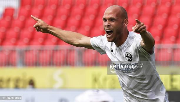 Gerrit Nauber of Sandhausen celebrates after he scores his sides second goal during during the Second Bundesliga match between SV Sandhausen and...