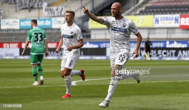 Gerrit Nauber of Sandhausen celebrates after scoring his sides second goal during the Second Bundesliga match between SV Sandhausen and Hannover 96...
