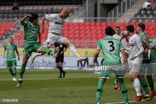 Gerrit Nauber of Sandhausen scores his sides second goal during the Second Bundesliga match between SV Sandhausen and Hannover 96 at BWTStadion am...