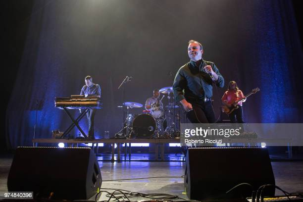 Gerrit Welmers, Michael Lowry, Samuel T. Herring and William Cashion of Future Islands perform on stage at Usher Hall on June 14, 2018 in Edinburgh,...
