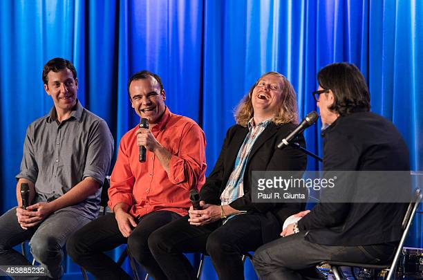 Gerrit Welmers Samuel T Herring and William Cashion of Future Islands are interviewed by Scott Goldman onstage at The GRAMMY Museum on August 20 2014...