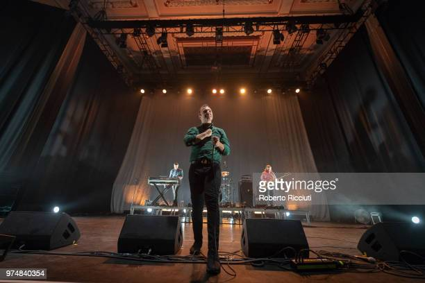 Gerrit Welmers, Samuel T. Herring and William Cashion of Future Islands perform on stage at Usher Hall on June 14, 2018 in Edinburgh, Scotland.