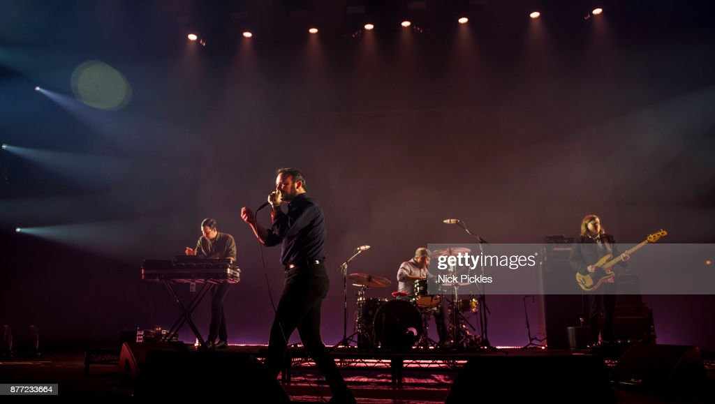 Gerrit Welmers, Samuel T. Herring, Michael Lowry, and William Cashion of Future Islands perform at O2 Academy Brixton on November 21, 2017 in London, England.