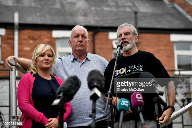 Gerry Adams addresses a rally called in support of the former Sinn Fein President alongside Michelle O'Neill and Bobby Storey on July 16, 2018 in...