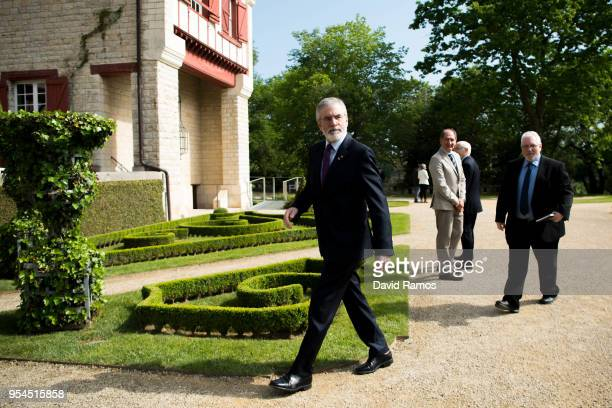 Gerry Adams former leader of Sinn Fein arrives at Villa Arnaga for the international event to advance the resolution of the conflict in the Basque...