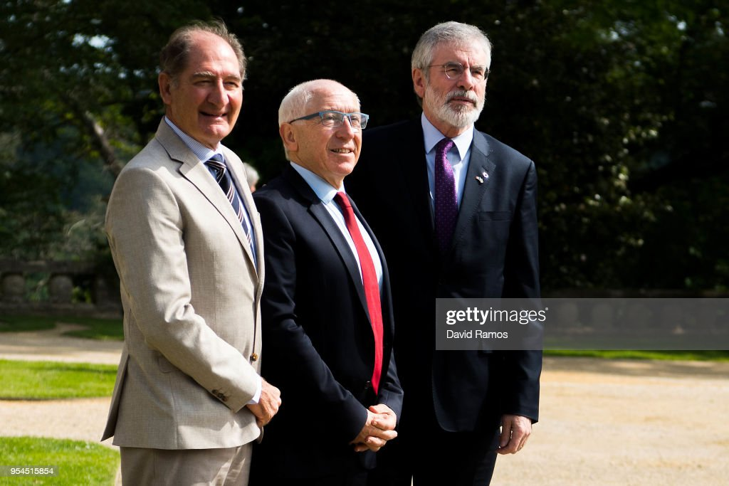 Gerry Adams, former leader of Sinn Fein, poses next to Brian Currin (L), member of the International Contact Group and Jean-Rene Etchegaray, Mayor of Baiona, as he arrives at the international event to advance the resolution of the conflict in the Basque Country organized by the International Contact Group on May 4, 2018 in Cambo-les-Bains, France. The summit aims to certify the definitive end of the terrorist group ETA as an organization after a final declaration was read yesterday by former leader Jose Antonio Urritikoetxea 'Josu Ternera'. Formed in 1959 at the height of the Spanish dictatorship of Francisco Franco, the Basque terrorist group was blamed for killing more than 800 people during its violence campaign for the independence of the Basque Country. ETA announced a permanent ceasefire in 2011.