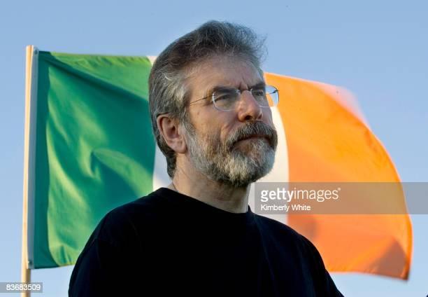 Gerry Adams Irish President of Sinn Fein holds a press conference November 13 2008 on Treasure Island in San Francisco California Adams is in San...