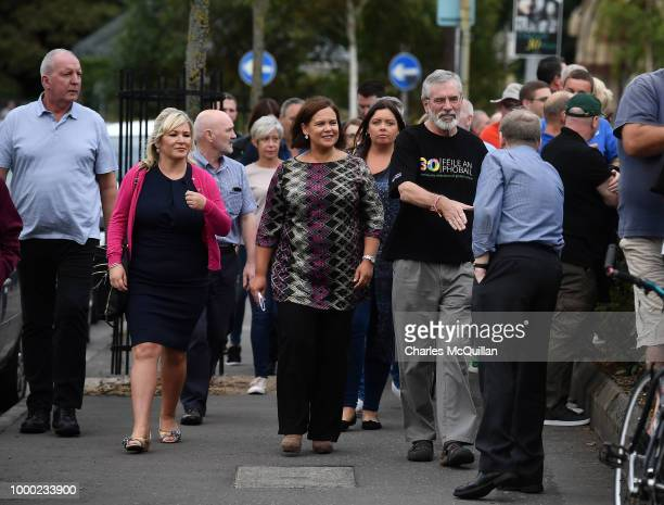 Gerry Adams is hugged by a well wisher as he attends a rally called in support of the former Sinn Fein President on July 16 2018 in Belfast Northern...