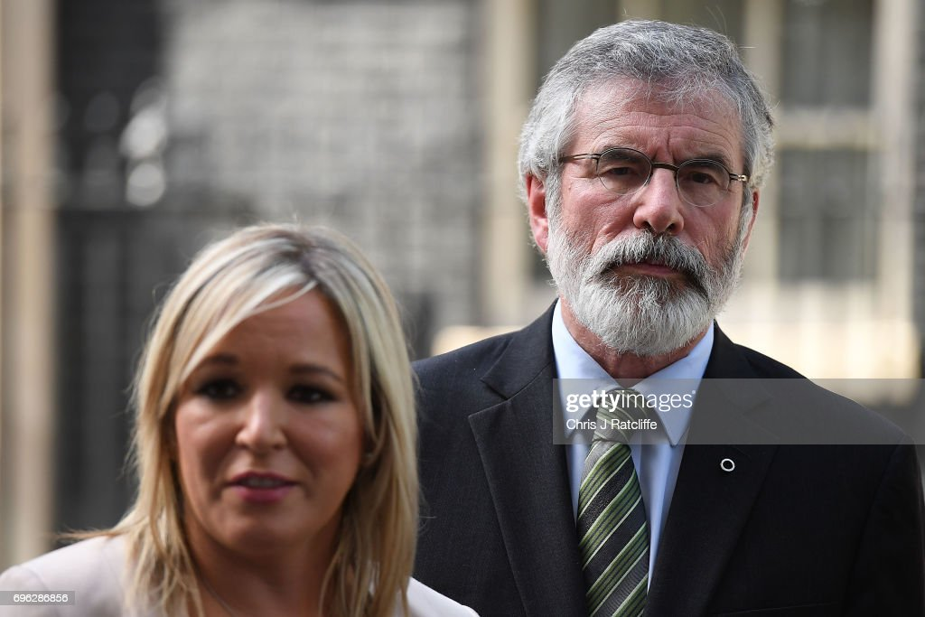 Gerry Adams, President of Sinn Féin and Michelle O'Neill, leader of Sinn Féin (L) speak to the media outside 10 Downing Street on June 15, 2017 in London, England. Prime Minister Theresa May held a series of meetings with the main Northern Ireland political parties today to allay mounting concerns over a government deal with the DUP in the wake of the UK general election.