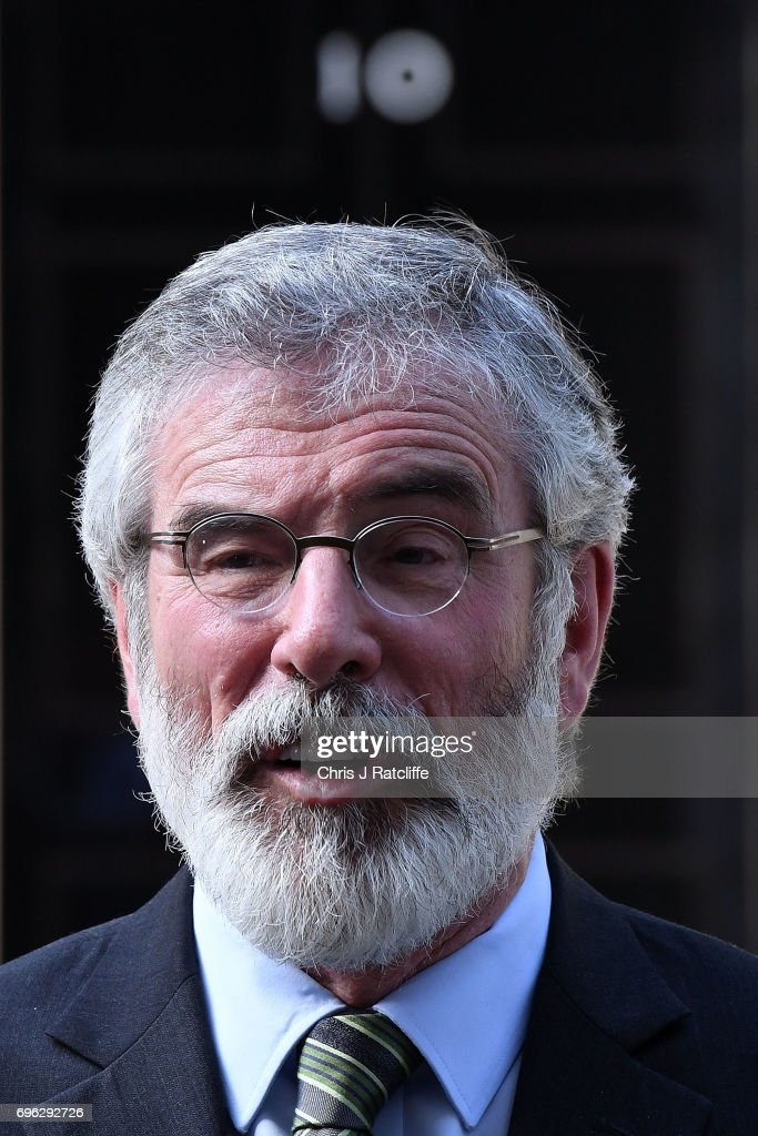 Gerry Adams, President of Sinn Féin speaks to the media outside 10 Downing Street on June 15, 2017 in London, England. Prime Minister Theresa May held a series of meetings with the main Northern Ireland political parties today to allay mounting concerns over a government deal with the DUP in the wake of the UK general election.