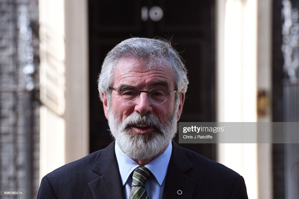 Gerry Adams, President of the Sinn Féin speaks to the media outside 10 Downing Street on June 15, 2017 in London, England. Prime Minister Theresa May held a series of meetings with the main Northern Ireland political parties today to allay mounting concerns over a government deal with the DUP in the wake of the UK general election.