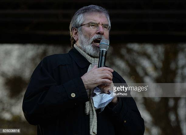 Gerry Adams the President of the Sinn F��in speaks to the crowd during Right2Water National Assembly outside Leinster House in Dublin CIty Center...