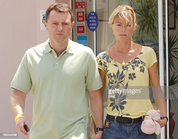 Gerry and Kate McCann parents of missing Madeleine McCann leave a hotel on route to an interview with television crews on August 9 2007 in Praia da...