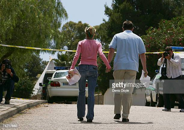 Gerry and Kate McCann parents of the missing British girl Madeleine leave after holding a press conference on May 22 2007 in Praia da Luz Portugal...