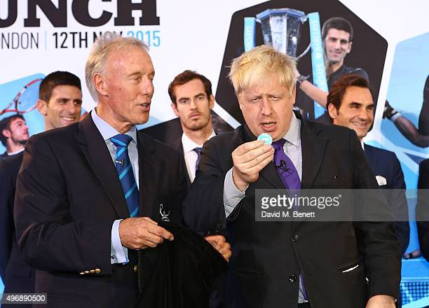 Gerry Armstrong and Boris Johnson celebrate with Moet Chandon and raise a toast to the official launch of the 2015 Barclays ATP World Tour Finals at...