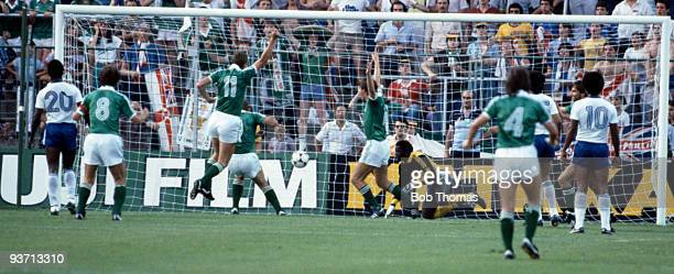Gerry Armstrong of Northern Ireland scores his goal during the Honduras v Northern Ireland World Cup match played at the Estadio La Romareda in...