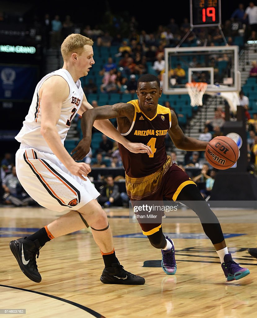 Gerry Blakes #4 of the Arizona State Sun Devils drives against Olaf Schaftenaar #30 of the Oregon State Beavers during a first-round game of the Pac-12 Basketball Tournament at MGM Grand Garden Arena on March 9, 2016 in Las Vegas, Nevada. Oregon State won 75-66.