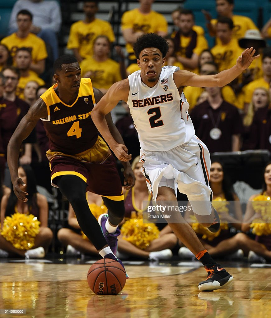 Gerry Blakes #4 of the Arizona State Sun Devils fouls Stephen Thompson Jr. #2 of the Oregon State Beavers during a first-round game of the Pac-12 Basketball Tournament at MGM Grand Garden Arena on March 9, 2016 in Las Vegas, Nevada. Oregon State won 75-66.