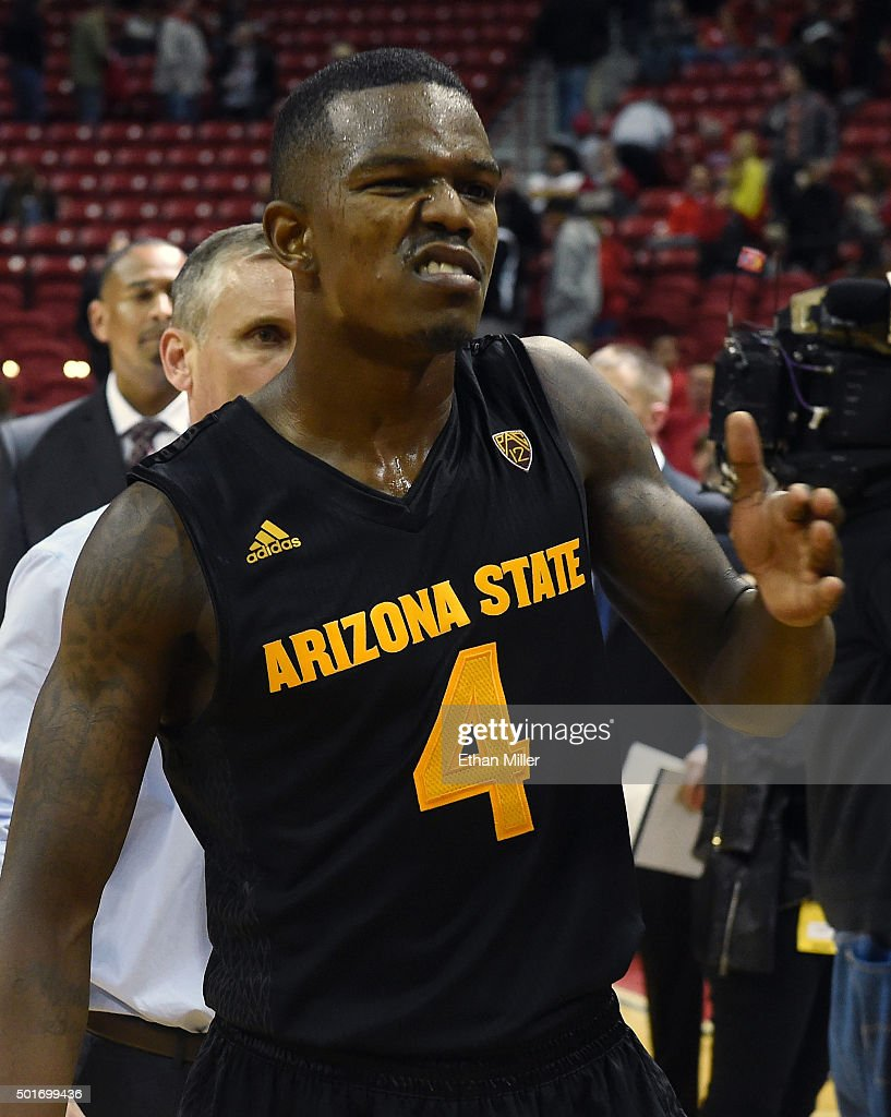 Gerry Blakes #4 of the Arizona State Sun Devils walks off the court after a 66-56 victory over the UNLV Rebels at the Thomas & Mack Center on December 16, 2015 in Las Vegas, Nevada.