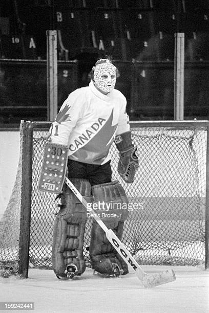 Gerry Cheevers of team Canada looks on during practice for the Canada Cup series at the Montreal Forum circa September, 1976 in Montreal, Canada.