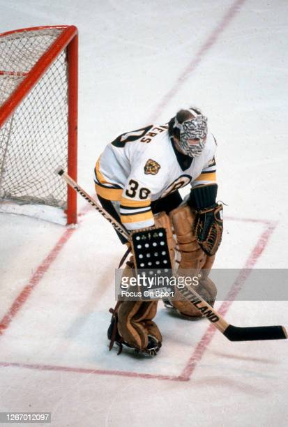 Gerry Cheevers of the Boston Bruins defends his goal during an NHL Hockey game circa 1979 at the Boston Garden in Boston, Massachusetts. Cheevers...
