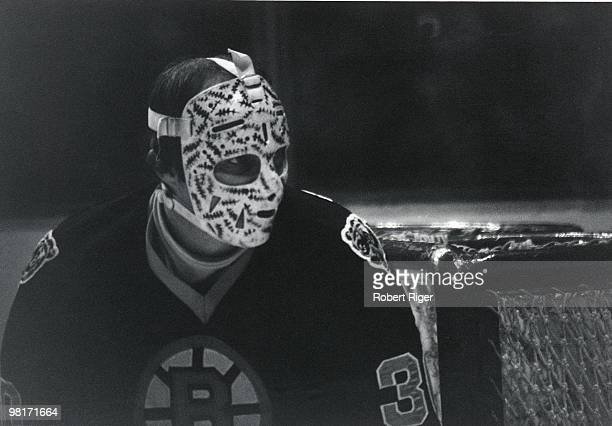 Gerry Cheevers of the Boston Bruins defends the net in a circa 1970s game.